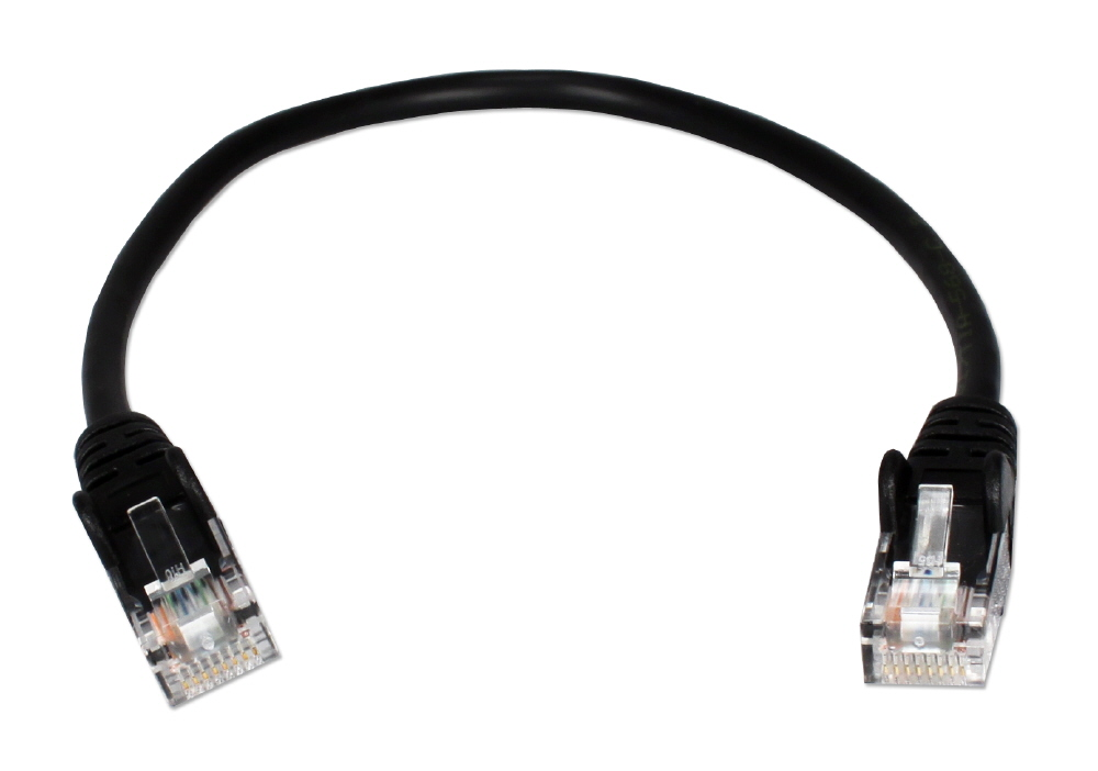3-Pack 1ft 350MHz CAT5e/Ethernet Flexible Snagless Black Patch Cord CC5-01BK 037229710809 Cable, 3-Pack CAT5e/RJ45/UTP Ethernet LAN/Network Hub/DSL/CableModem/Patch Cord, Flexible/Stranded  with Snagless/Molded Boots, Black, 1ft 3-Pack  VV2942 CC501BK CC5-01BK  cables feet foot   2832 IMCE