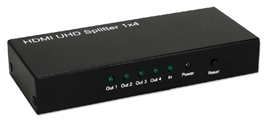1x4 4Port HDMI 4K/60Hz HDTV/HDCP Splitter/Distribution Amplifier HD-144K HDMI v1.3b 1x4 Audio/Video Switch/Splitter/Distribution Amplifier, Supports 3D 720p/1080i/1080p/4Kx2K, 19pin Female Connectors