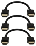 0.5ft 3-Pack High Speed HDMI UltraHD 4K with Ethernet Thin Flexible Black Cables HDT-0.5F-3PK 037229401394