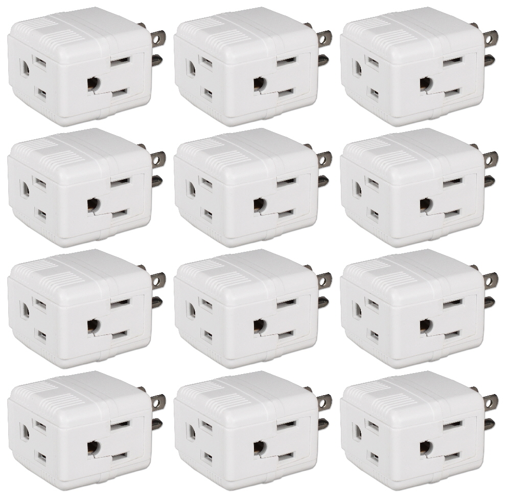 12-Pack 3-Outlets Compact Space-Saver Grounded Power Outlet Splitter - PA-3PC-12PK