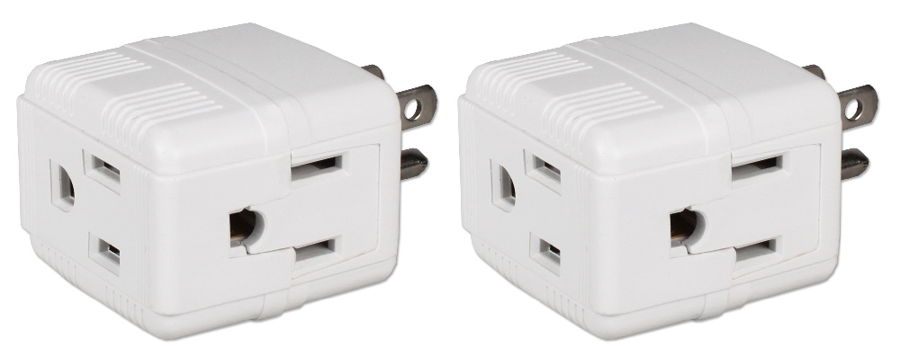 2-Pack 3-Outlets Compact Space-Saver Grounded Power Outlet Splitter - PA-3PC-2PK