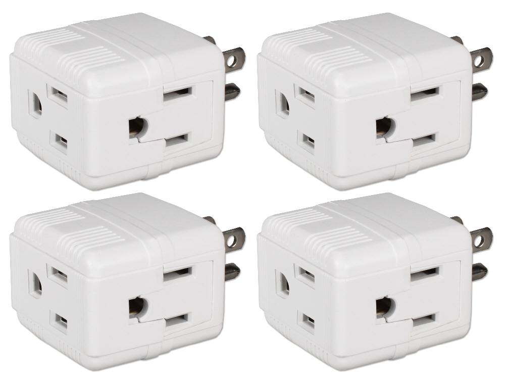 4-Pack 3-Outlets Compact Space-Saver Grounded Power Outlet Splitter - PA-3PC-4PK