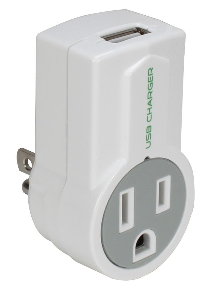 1-Outlet 1Amp USB AC Charger with Rotating Power Plug