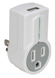 1-Outlet 1Amp USB AC Charger with Rotating Power Plug PP-68PL-AC1100-CMT