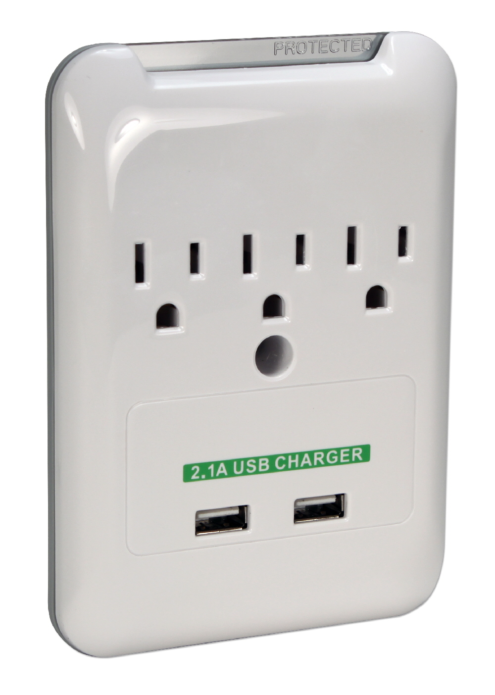 3-Outlet Wallmount Surge Protector with Dual-USB 2.1Amp Charging Ports