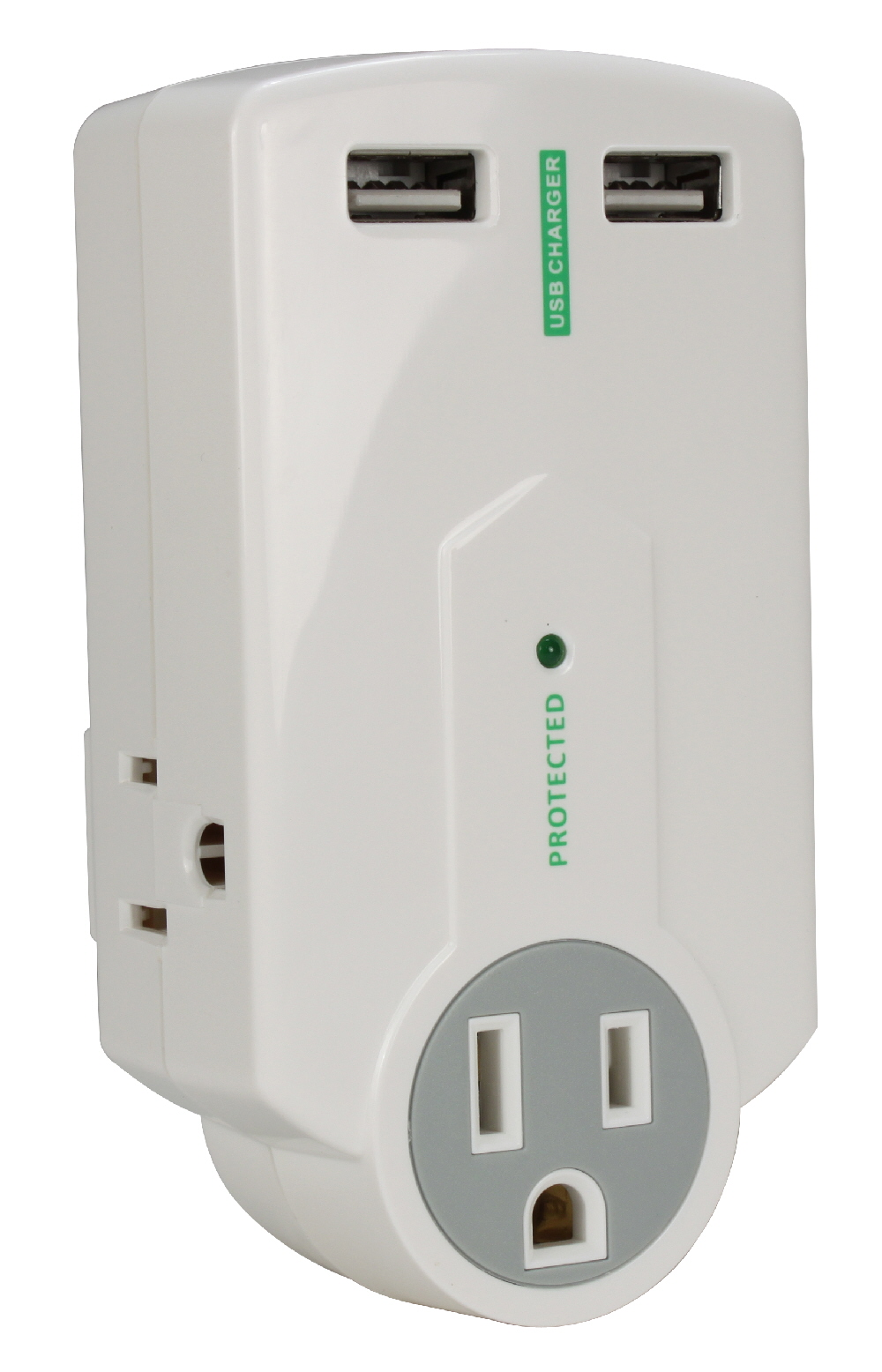 3-Outlet Surge Protector with Dual-USB 2.1Amp AC Charger with Folding Power Plug