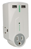 3-Outlet Surge Protector with Dual-USB 2.1Amp AC Charger with Folding Power Plug PP-68PL-AC32MN-CMT