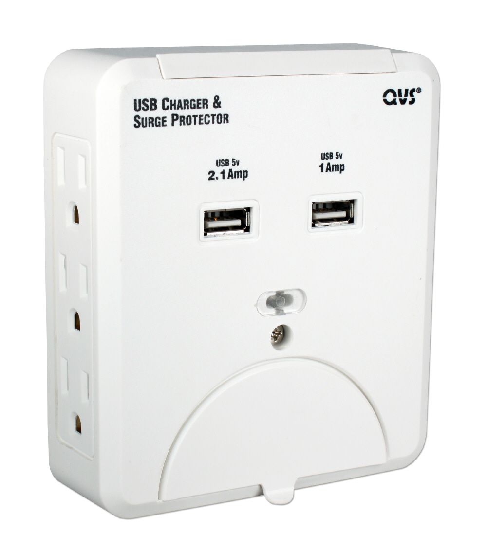 6-Outlets Wallmount Surge Protector with Dual-USB 3.1Amp Charger & Device Holders - PS-06UH