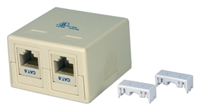 Dual Port CAT6 Keystone Jack Beige Surface Mount Box Kit C6BX-2PK 037229714685 Category 6 - Surface Mount Dual Port Kit, Keystone 110 Jack, CAT6 3P Certified, Straight Thru, Beige, RJ45F/F C5BX-2P + (2) C6JACKB     C6BX2PK C6BX-2PK      2218