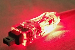 10ft IEEE1394 FireWire/i.Link 6Pin to 4Pin A/V Translucent Illuminated/Lighted Cable with Red LEDs CC1394B-10RDL 037229139228 Cable, IEEE1394 FireWire/i.Link for Audio/Video with Red LEDs, 6 to 4Pins, 10ft, Translucent 165969 TH6600 CC1394B10RDL CC1394B-10RDL cables feet foot  2325