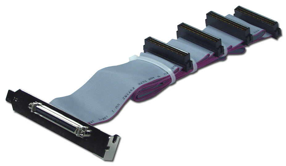 "54 Inches UltraSCSI HPDB68 (MicroD68) Three Drives Ribbon Cable plus External Port CC2206-3P 037229220643 Cable, Add a HPDB68 External Port from Internal SCSI, (4)HPDB68M/(1)HPDB68F with Bracket, 54"" (Screw Type) CC22063P CC2206-3P  cables    2431"
