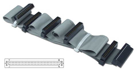 "50 Inches UltraSCSI HPDB68 (MicroD68) Four Drives Ribbon Cable plus a Terminator Connector CC2206-4T 037229223033 Cable, SCSI III/UltraSCSI (SCSI V) Internal Ribbon with Extra Connector for Terminator, Up to 5 Devices, (6) HPDB68M, 50"" CC22064T CC2206-4T  cables    2433  microcenter  Rejected"