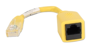 0.5ft CAT5e RJ45 Crossover PortSaver Yellow Patch Cord CC712XMF-0.5L 037229710458