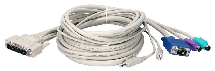 6ft PS/2 Keyboard/Video/Mouse/Audio DB25 KVM Combo Cable CP2PC-06 037229541212