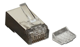 100pcs CAT6 Shielded Crimp Connector with Insert CR6SD-100S 037229716856 CAT5e/CAT6 Category 6 Shielded Connectors, RJ45 Crimp, 50u, Stranded, 100pcs CR6SD100 CR6SD-100S