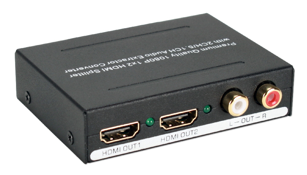 HDMI Audio Extractor with HDMI Pass Through Port & Built-in 2-Port DA - HD-ADEX2