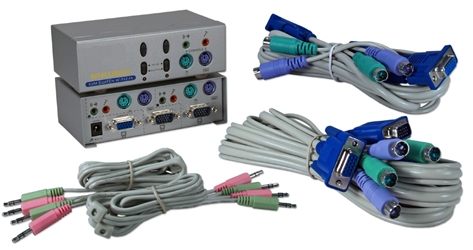 PS/2 2Port KVM with Audio Premium Autoswitch with Combo Cable KVMS-12A 037229542745 ServerMaster KVM SmartView Series with Audio - 2 PS2 Computers Controlled from 1 Console, Desktop Design, Includes required combo cables KVMS12A KVMS-12A  cables    3572