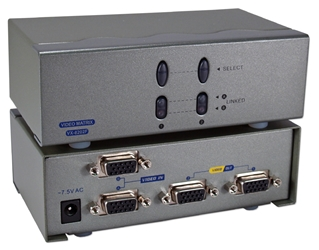 250MHz 2Port VGA Video Matrix Switch (2x2) MSV602PHX2 037229006568 Video Share/Splitter/DA/Distribution Amplifier (Matrix) with Built-in Booster, 2PCs Share 2 Video, 250MHz Supports VGA/SVGA/Multisync and up to 1920x1440, HD15 Connectors VX-8202F   MSV602PHX2 MSV602PHX2      3636
