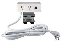 Adjustable Deskmount Dual-Power Outlets with Dual-USB 2.1Amp Charger & 10ft Power Cord P2P2U-10 037229231687
