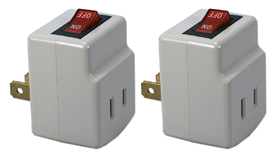 2-Pack Single-Port Power Adaptor with Lighted On/Off Switch PA-1P-2PK 037229231106