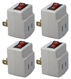 4-Pack Single-Port Power Adaptor with Lighted On/Off Switch PA-1P-4PK 037229231113