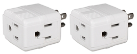 2-Pack 3-Outlets Compact Space-Saver Grounded Power Outlet Splitter PA-3PC-2PK 037229231182