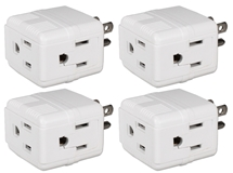 4-Pack 3-Outlets Compact Space-Saver Grounded Power Outlet Splitter PA-3PC-4PK 037229231199