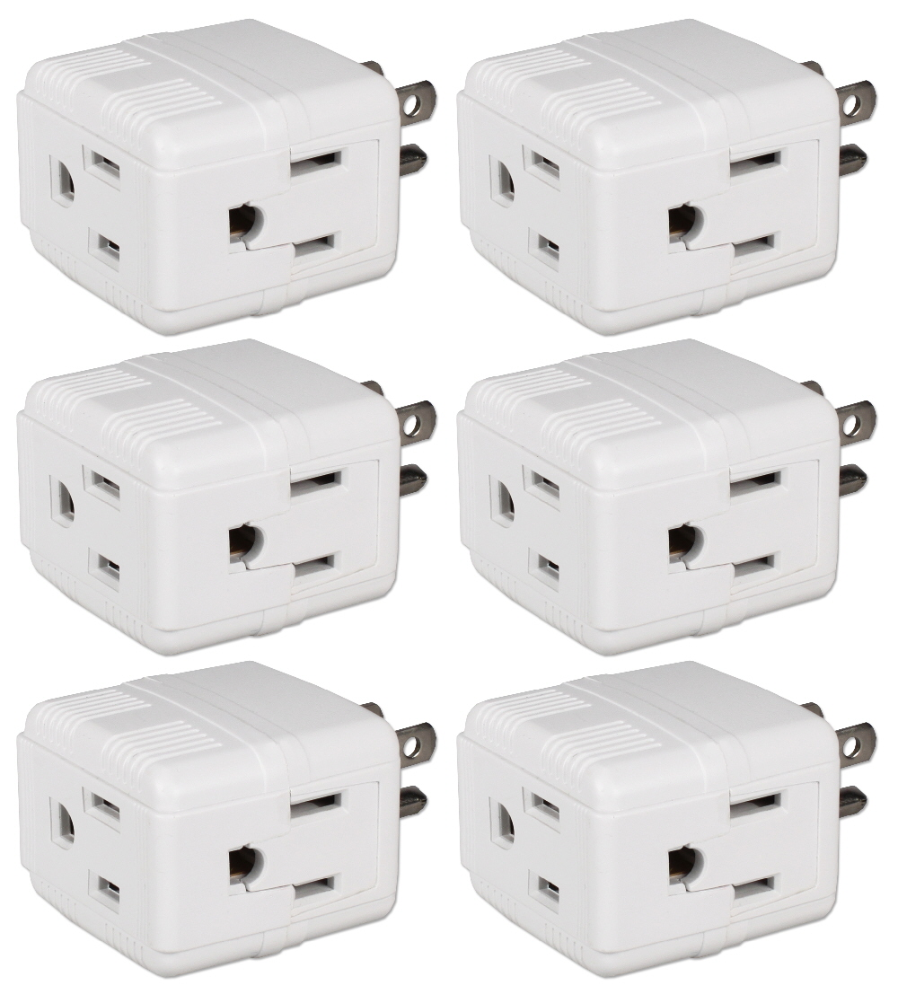 6-Pack 3-Outlets Compact Space-Saver Grounded Power Outlet Splitter - PA-3PC-6PK