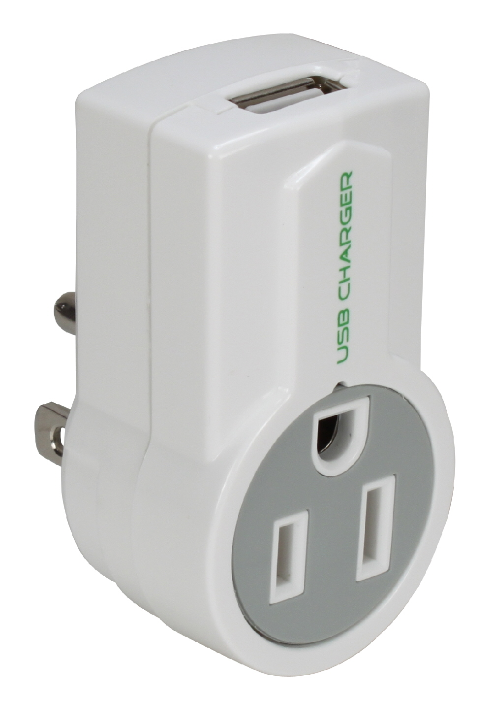 1-Outlet 1Amp USB AC Charger with Rotating Power Plug - PP-68PL-AC1100-CMT
