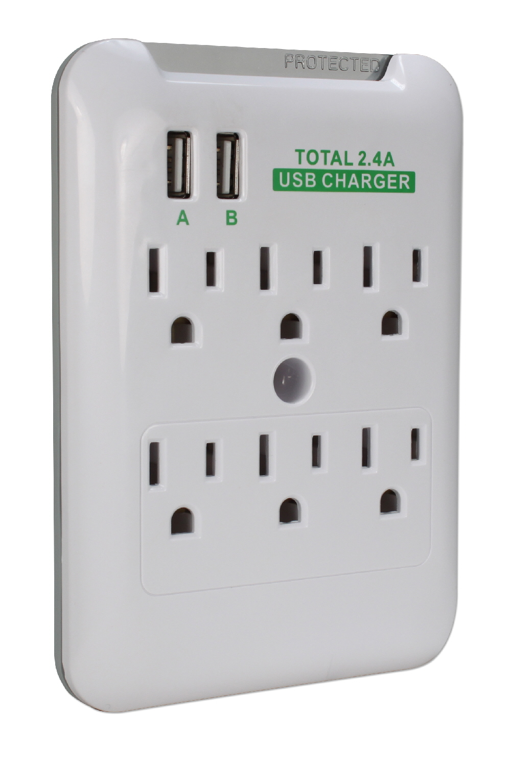 6-Outlet Wallmount Surge Protector with Dual-USB 2.4Amp Charging Ports - PP-68PL-AC6200-CMT