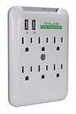 6-Outlet Wallmount Surge Protector with Dual-USB 2.4Amp Charging Ports PP-68PL-AC6200-CMT