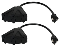 2-Pack 12 Inches 3-Outlet OutletSaver AC Power Splitter Adaptor PP-ADPT3-2PK 037229231311