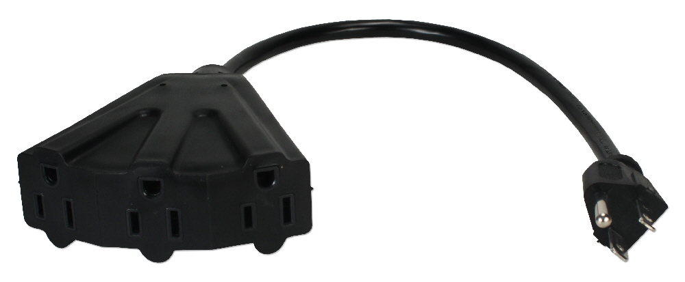 12 Inches 3-Outlet OutletSaver AC Power Splitter Adaptor - PP-ADPT3