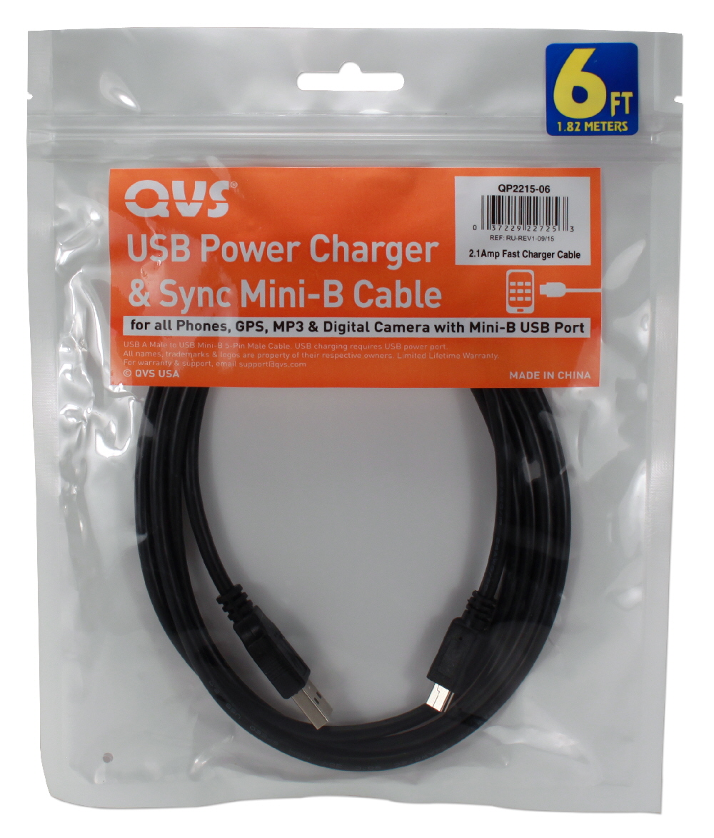 10ft Mini-USB Sync & 2.1Amp Fast Charger Cable for Game Controller/GPS & GoPro Action Cameras - QP2215-10